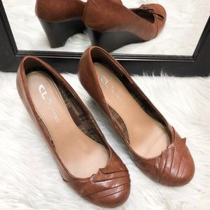 CL by laundry brown wedge, Size 7 1/2 M